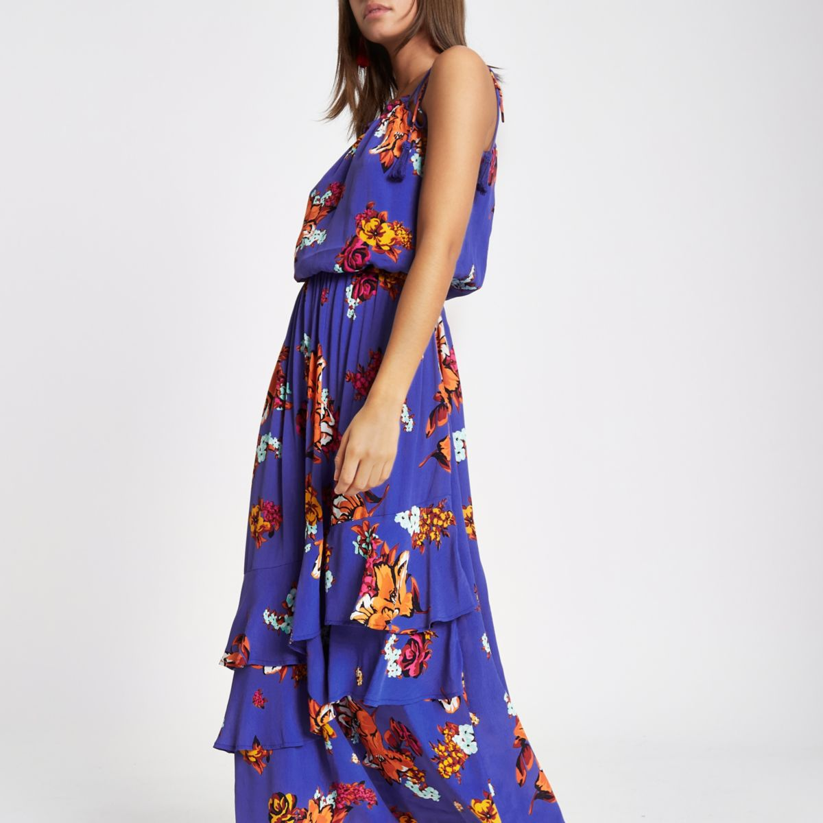 Blue floral print tassel high neck maxi dress