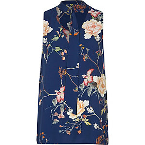 Blue floral D-ring tie neck sleeveless top