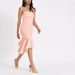 Light pink frill hem bandeau bodycon dress
