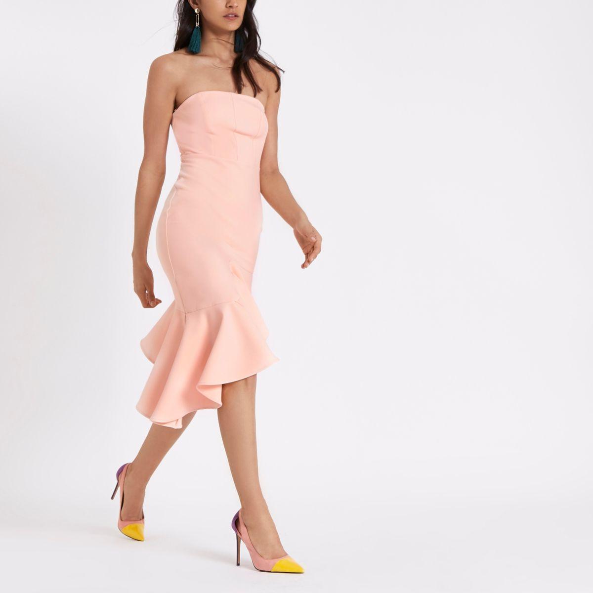 Light pink frill hem bandeau bodycon dress