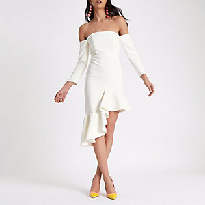 Cream bardot asymmetric hem bodycon dress