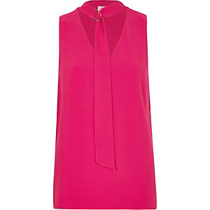 Pink D-ring tie neck sleeveless top