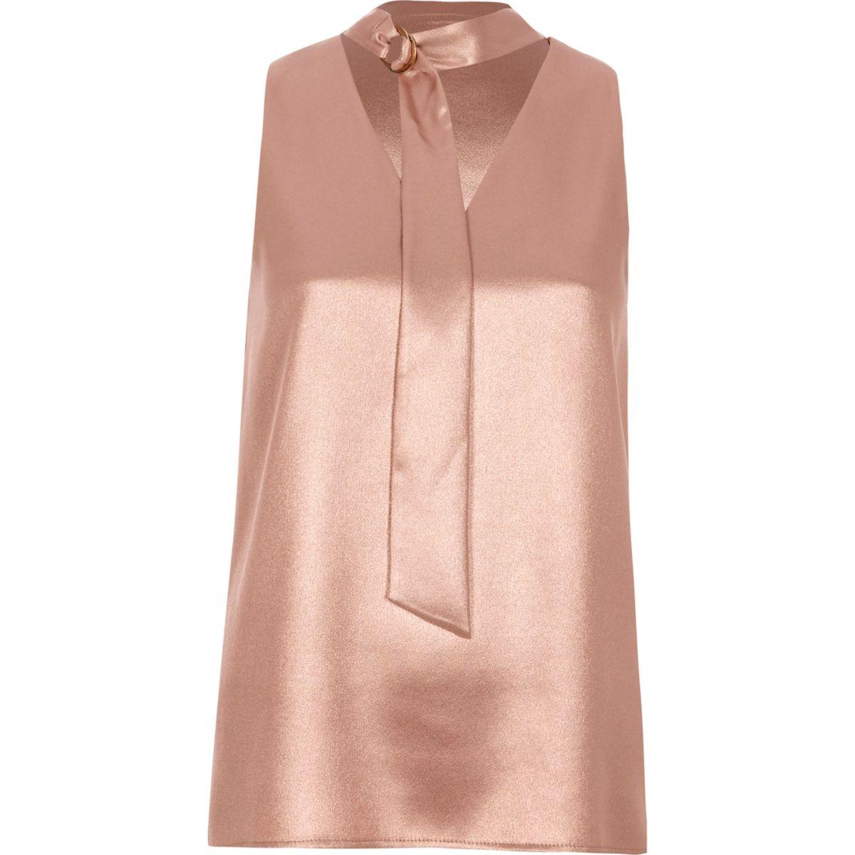 Pink metallic D-ring tie neck sleeveless top