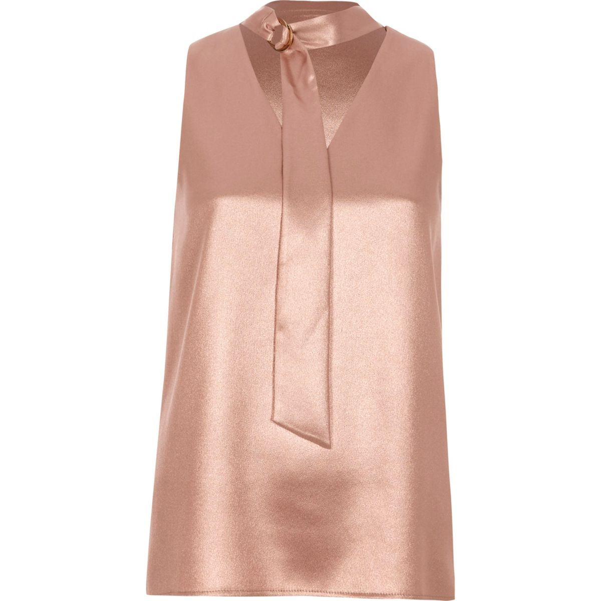 Pink metallic D-ring tie neck sleeveless top