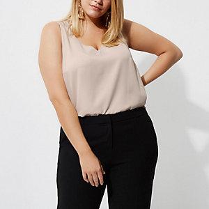 RI Plus - Beige hemdje met dubbele gekruiste bandjes op de rug