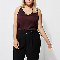 Plus burgundy double strap cross back vest