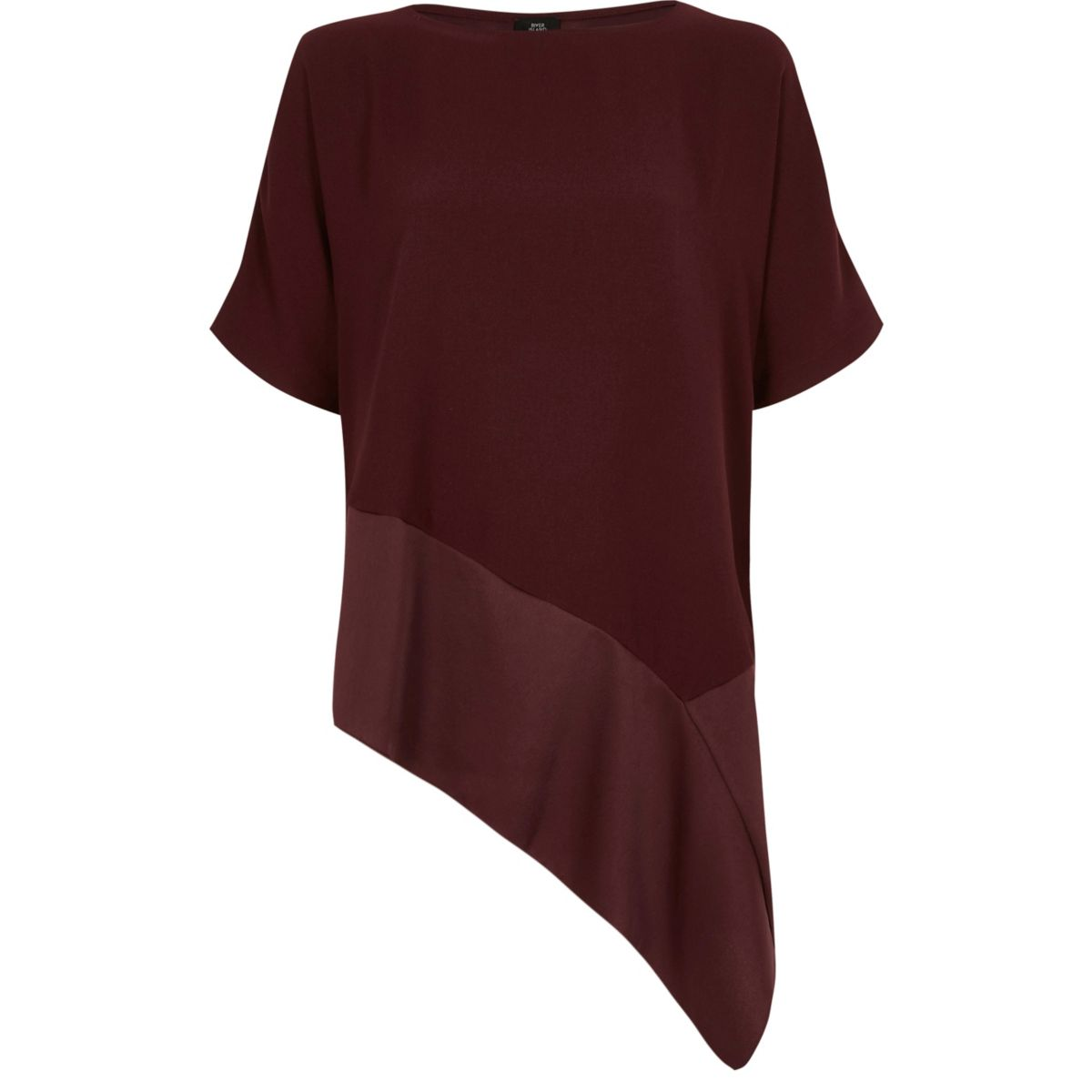 Dark red short sleeve asymmetric hem T-shirt