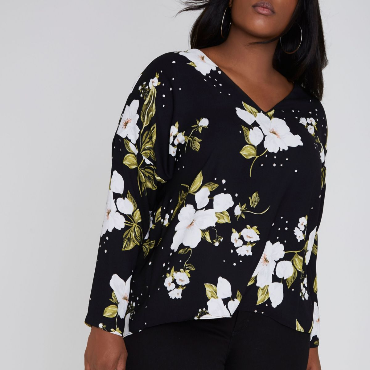 Plus black floral lace-up long sleeve top
