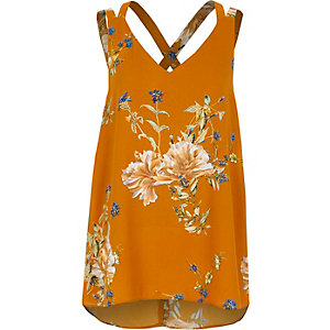 Orange floral double strap cross back tank