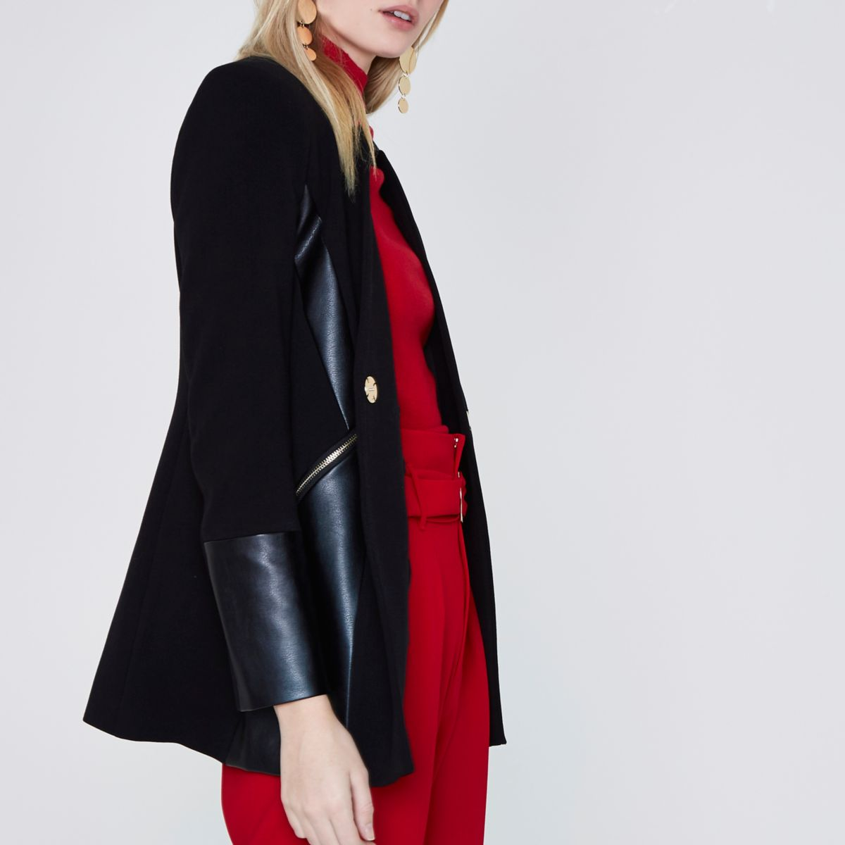 Black faux leather panel blazer