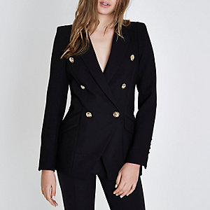 Black double breasted tuxedo blazer