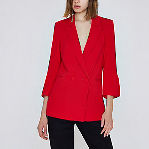 Red split cuff double breasted blazer