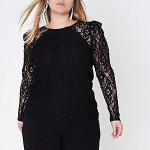 Plus black puff sleeve lace top