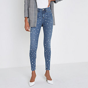 Mid blue Molly jewel embellished jeggings