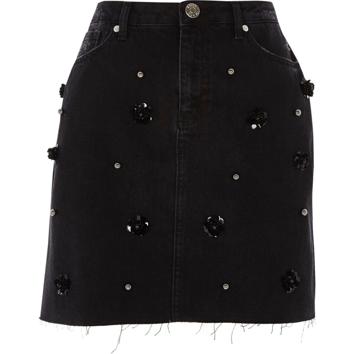 Zwarte verfraaide denim rok met bloemenprint en pailletten