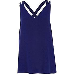 Blue double strap cross back vest