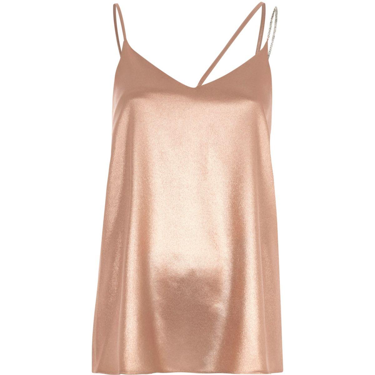 Pink metallic embellished strap cami