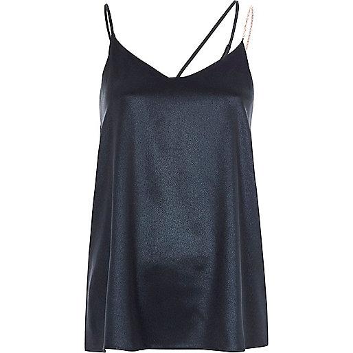 Blue metallic embellished strap cami top