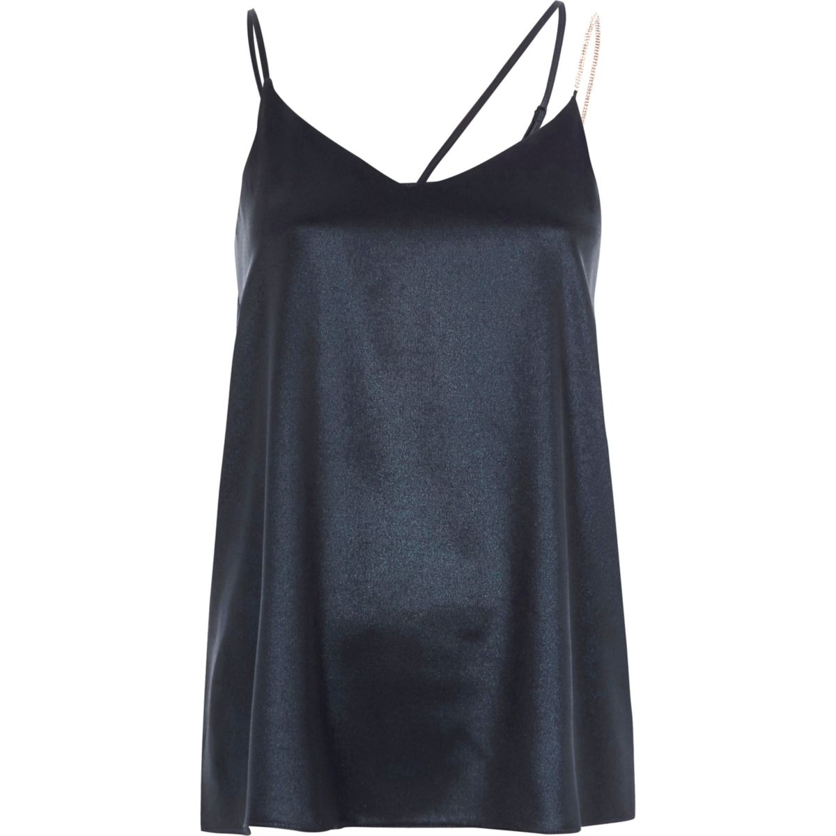 Blue metallic embellished strap cami top