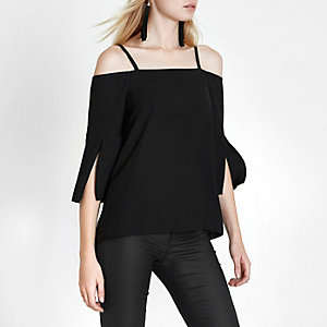 Black cold shoulder split sleeve top