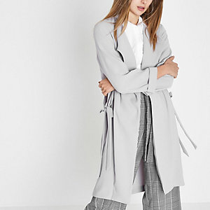 Light grey tie sides duster coat