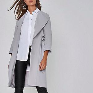 Light grey D-ring tie sides duster coat