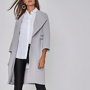 Light grey D-ring tie sides duster coat
