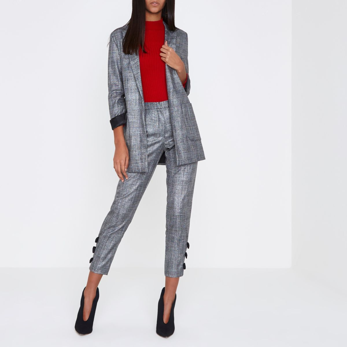 Grey metallic check boyfriend blazer