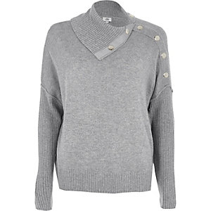 Grauer Pullover mit Druckknopfdetails