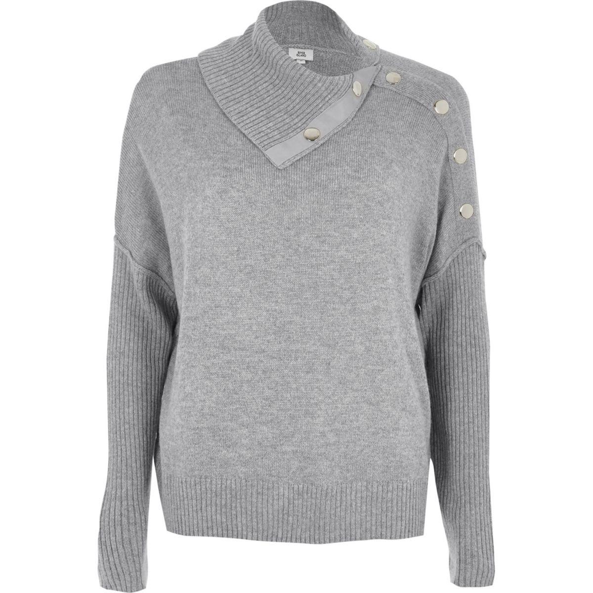 Grey popper detail sweater