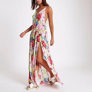 Pink crochet tropical print maxi beach dress