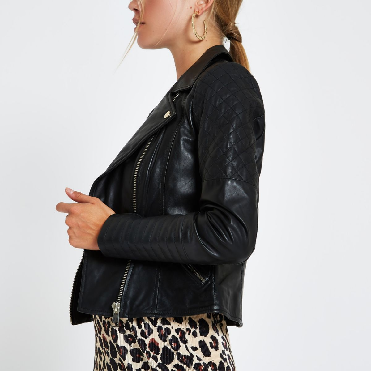 Black leather quilted biker jacket - Jackets - Coats & Jackets - women : leather quilted biker jacket - Adamdwight.com