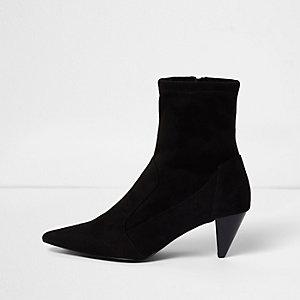 Black faux suede cone sock heel boots