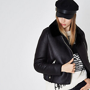 Black faux shearling collar biker jacket