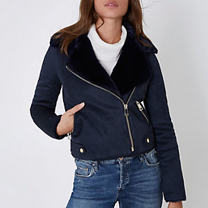 Navy faux shearling biker jacket
