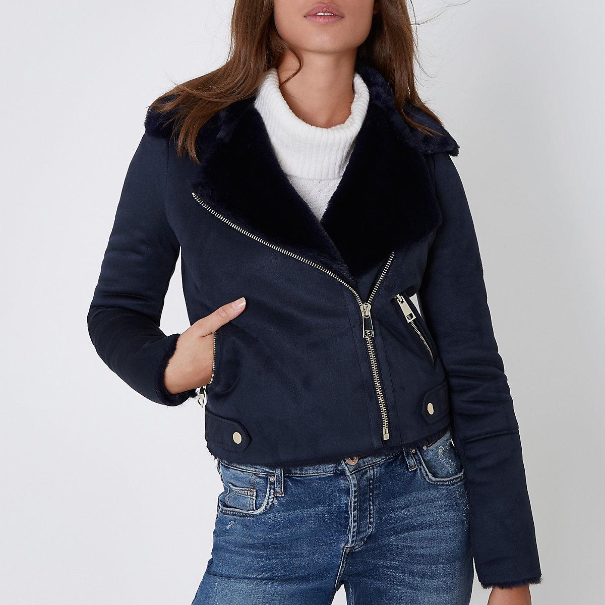 Navy faux shearling biker jacket