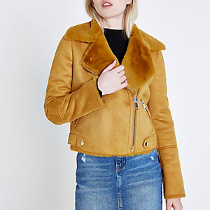 Yellow faux shearling biker jacket