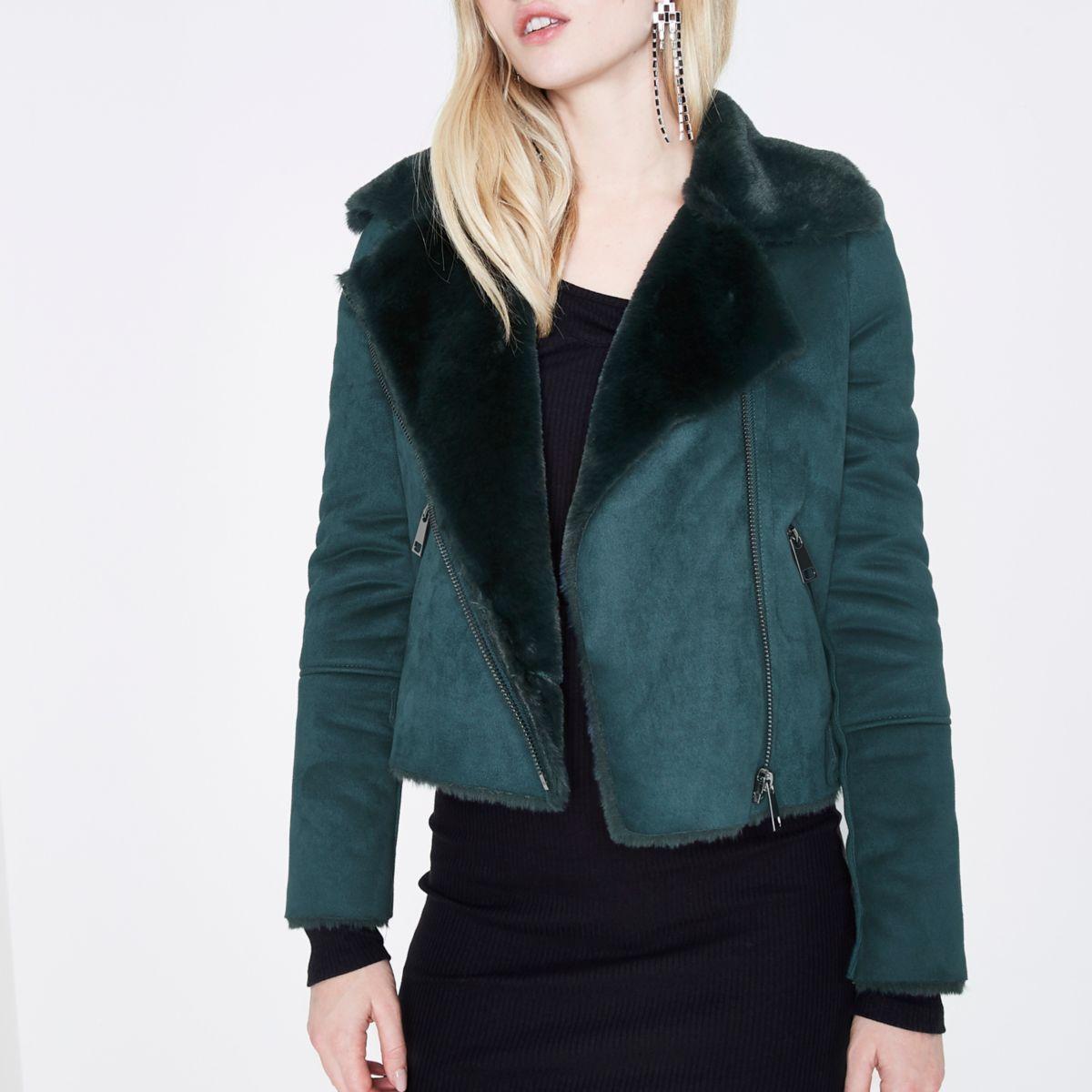 Green faux shearling biker jacket