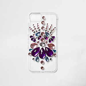 Pink jewel embellished clear phone case