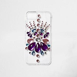Coque pour téléphone transparente rose ornée de bijoux