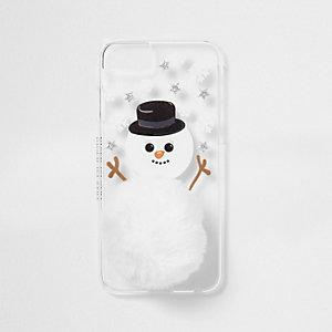 Witte telefoonhoes met sneeuwpop en pompon
