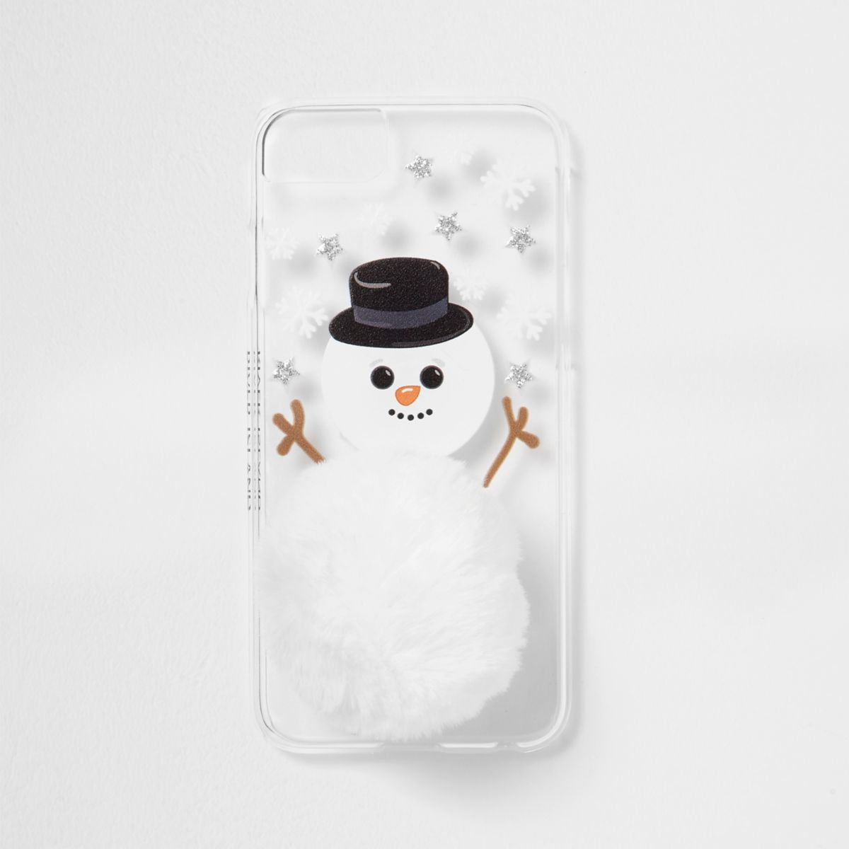 White snowman pom pom phone case