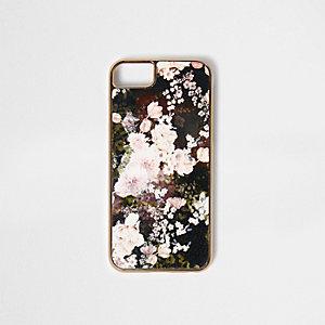 Schwarze Handyhülle mit Blumenmuster