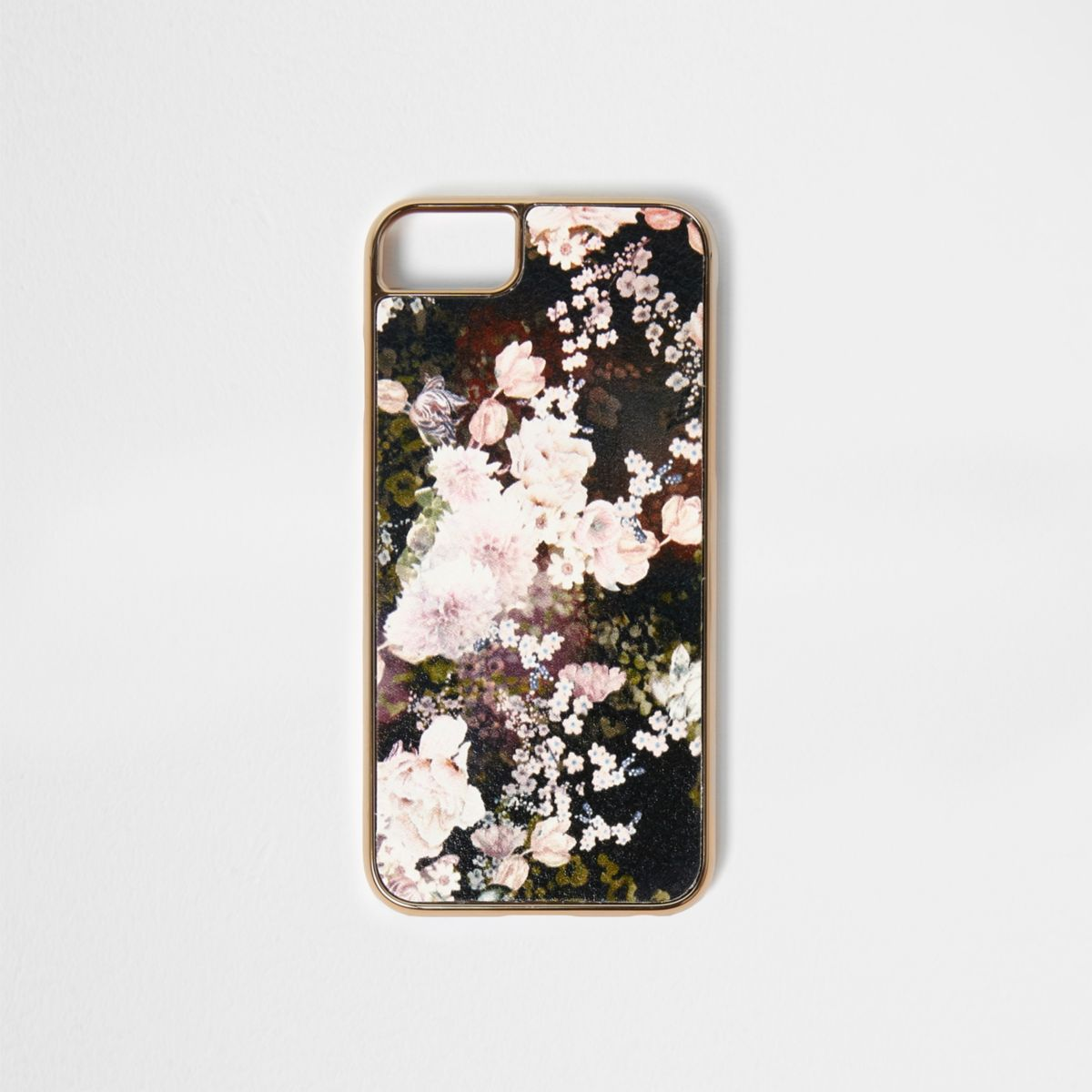 Black floral print phone case