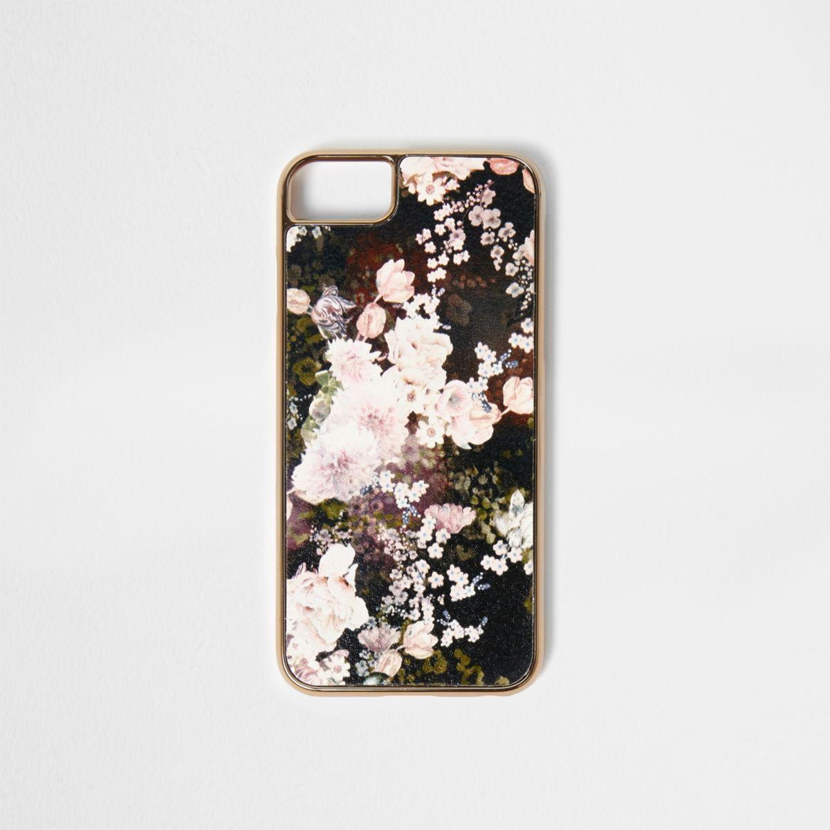 Zwarte telefoonhoes met bloemenprint