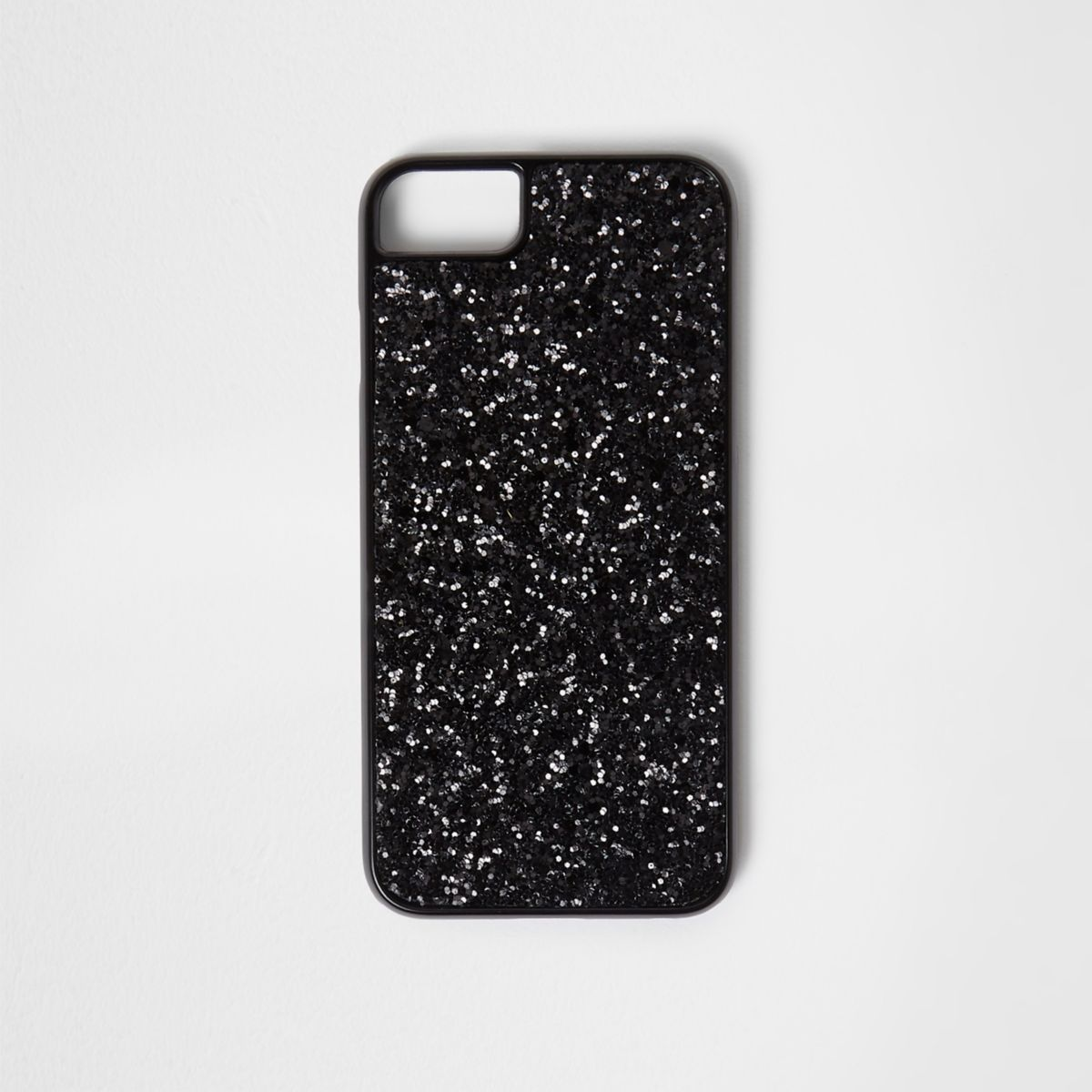 Black glitter phone case