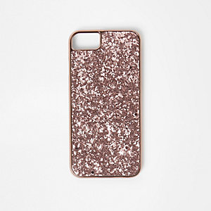 Rose gold tone glitter phone case