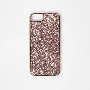 Roségoudkleurige telefoonhoes met glitters
