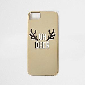 Coque de téléphone de Noël dorée « oh deer »
