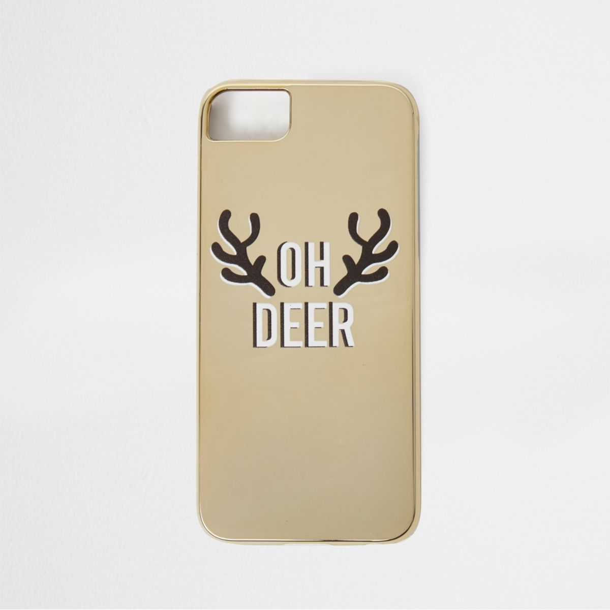 Gold 'oh deer' Christmas phone case